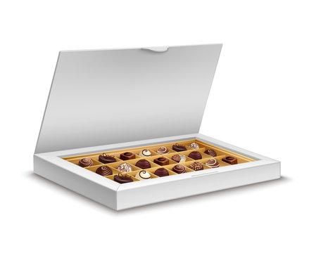 White box of chocolates isolated on white background