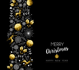 Christmas and New Year gold pattern decoration