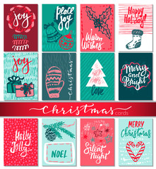 Collection of nine Christmas cards with hand drawn elements.