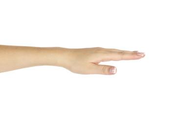 Empty female hand on white background.