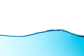 Isolated on top blue water wave horizontal line with bubbles background texture
