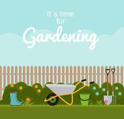 Gardening Flat Background Vector Illustration. Garden Tools, Fen