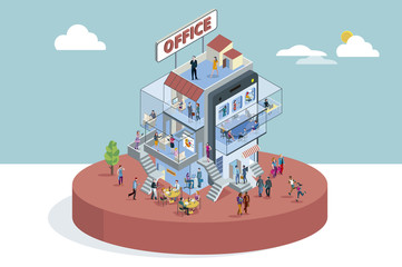 Office Building In Isometric View