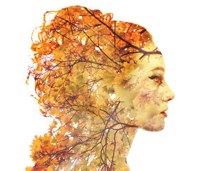 Double exposure autumn portrait
