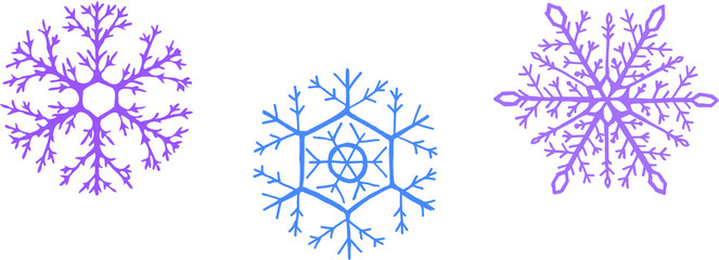 Three detailed Snowflakes with 2 layers for different colors