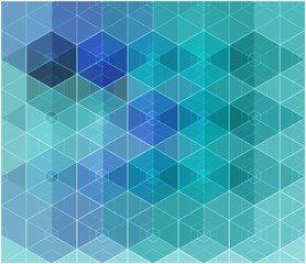 Abstract mosaic blue cubic geometric background.