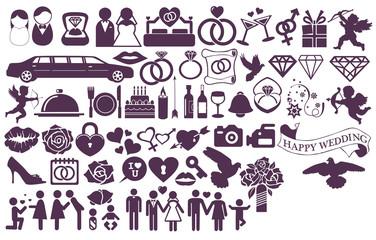 Big set wedding icons and signs