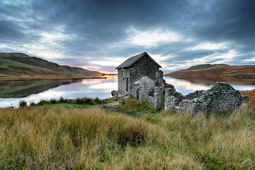 Wall Mural - Sunset over Devoke Water in the Lake District