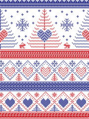 Scandinavian style inspired Christmas and festive winter seamless pattern in cross stitch style with Xmas trees, snowflakes, Rabbits, stars, hearts, decorative ornaments in red, white, blue