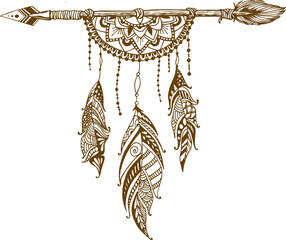 Dreamcatcher and arrow with feathers. Vector hand drawn illustration