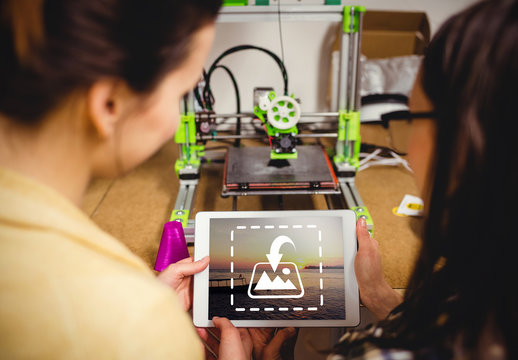 Women and Tablet and 3D Printer Mockup
