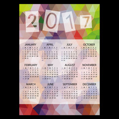 2017 simple business wall calendar with low polygon triangle multicolor theme pattern eps10