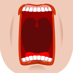 Open mouth facial. Teeth and tongue. Hunger. yawns on white back