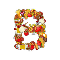 Letter B food. Edible sign alphabet from pizza and hamburger. Fe