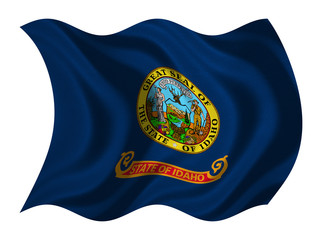 Flag of Idaho wavy on white, fabric texture