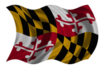 Flag of Maryland wavy on white, fabric texture