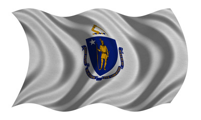Flag of Massachusetts wavy on white fabric texture