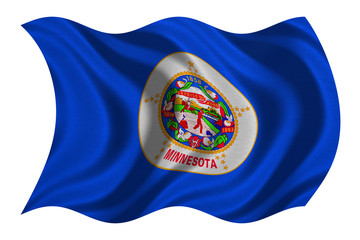 Flag of Minnesota wavy on white, fabric texture