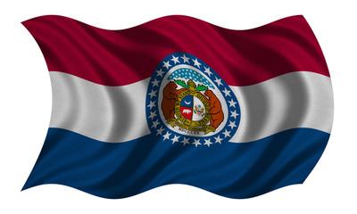 Flag of Missouri wavy on white, fabric texture