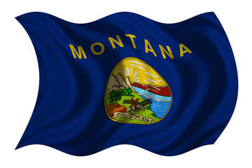 Flag of Montana wavy on white, fabric texture