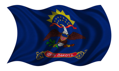 Flag of North Dakota wavy on white, fabric texture