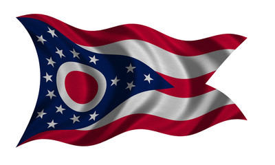 Flag of Ohio wavy on white, fabric texture