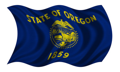 Flag of Oregon wavy on white, fabric texture