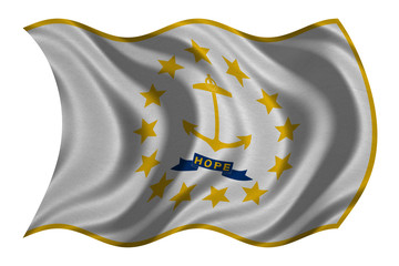 Flag of Rhode Island wavy on white, fabric texture