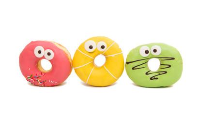 delicious donuts in color glaze
