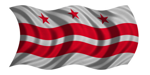 Flag of Washington, D.C. waving on white, textured