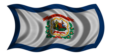 Flag of West Virginia wavy on white fabric texture