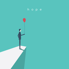 Business vector concept of hope, success, future. Businessman standing with red balloon.