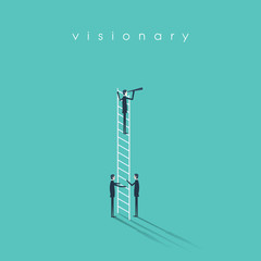 Business vision, leadership and teamwork concept vector background. Businessman standing on a ladder with monocular.