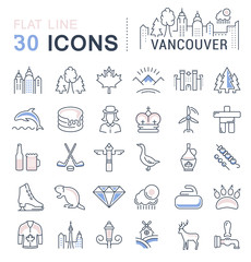 Set Vector Flat Line Icons Vancouver and Canada