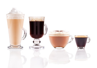 Various coffee glasses are together.
