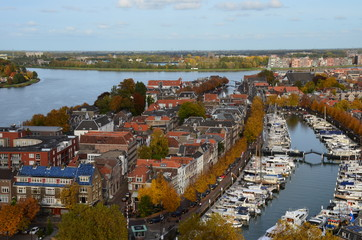 Aerial photo view of the city Dordrecht, Netherlands