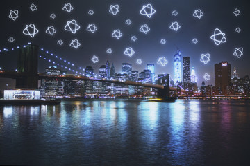Modern city with star icons