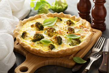 Healthy vegetable and salmon quiche