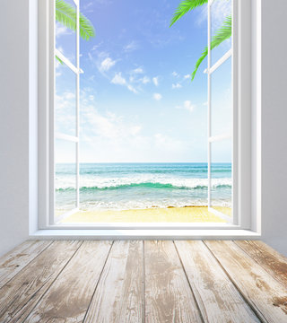 Window with beach view