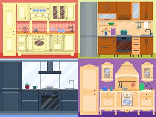 Kitchen design vector illustration.