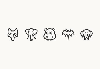 55 Minimalist Animal Face Icons