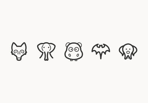 55 Minimalist Animal Face Icons