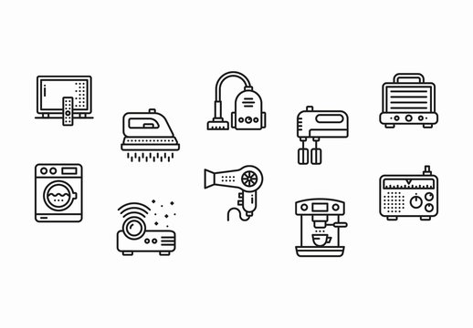 30 Black and White Appliance Icons