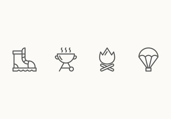 95 Minimalist Camping and Adventure Icons
