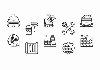 35 Black and White Construction and Industry Icons