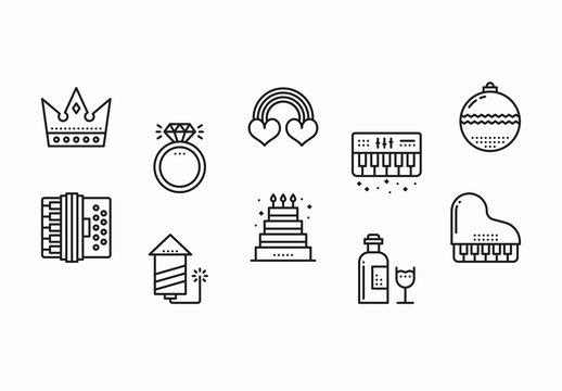 30 Black and White Celebration Icons