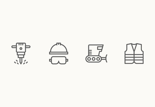 55 Minimalist Construction and Building Icons