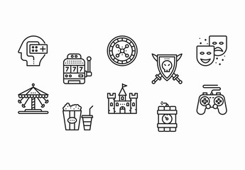 35 Black and White Games and Entertainment Icons