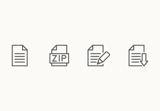 65 Minimalist File Type Icons