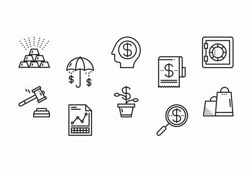 40 Black and White Business and Finance Icons
